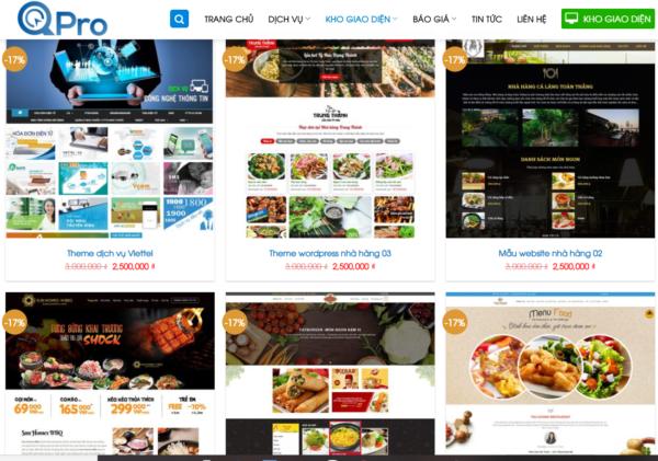 thiết kế website, thiết kế website nhà hàng