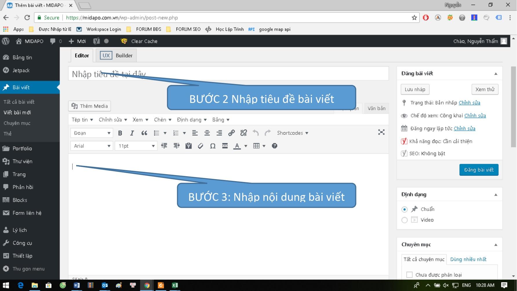 qproweb huong dan su dung wordpress dang bai viet buoc 2 3